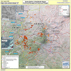 Villages destroyed in the Darfur Sudan 2AUG2004.jpg