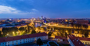 וילנה: Vilnius Modern Skyline At Dusk, Lithuania - Diliff
