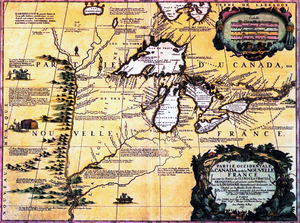 Jean-Baptiste Chardon - Maps of 1688 by Vincenzo Coronelli representing the Great Lakes region under the New France administration
