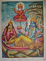 Vishnu rests on the serpent Ananta while Brahma appears within a lotus flower emanating from Vishnu's navel.jpg