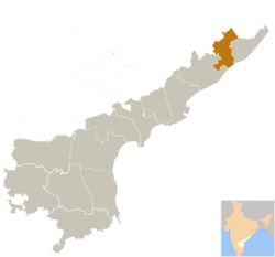 Location of Vizianagaram district in Andhra Pradesh