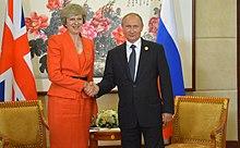 Theresa May e il presidente russo Vladimir Putin al G20 del 2016 di Hangzhou