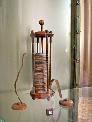 1800s (decade) - A voltaic pile on display in the Tempio Voltiano.