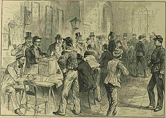 1892 Argentine presidential election - Voting under military protection in Buenos Aires (Melton Prior, The Illustrated London News, 1892).