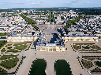 Palace of Versailles - Aerial view in 2013 from above the Gardens of Versailles