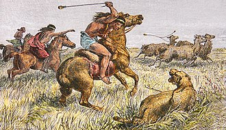 George Chaworth Musters - Wáki killing a Puma, illustration from At Home with the Patagonians by George Chaworth Musters