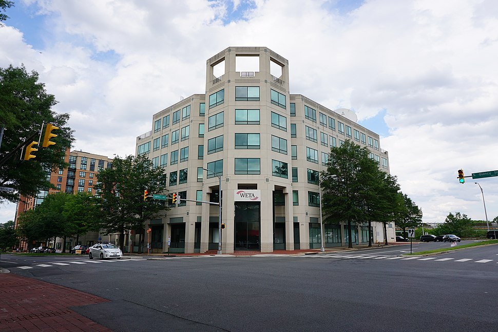 WETA FM studio and administrative offices; west and south sides; Shirlington, Arlington, VA; 2014-05-17
