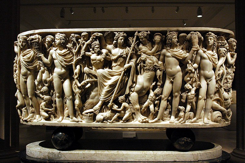 sarcophagus with the triumph of dionysis This white marble panel depicts the triumphant return of the god dionysus after spreading the miracle of wine culture to india and the east a masterpiece of high-relief sculpture, it would have formed the front of a sarcophagus, a magnificent place of final rest dionysus, wearing the headdress of .