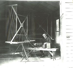 Radio direction finder - W.G. Wade of the National Bureau of Standards uses a large multi-loop antenna to perform RDF in this 1919 photo. This is a fairly small unit for the era.