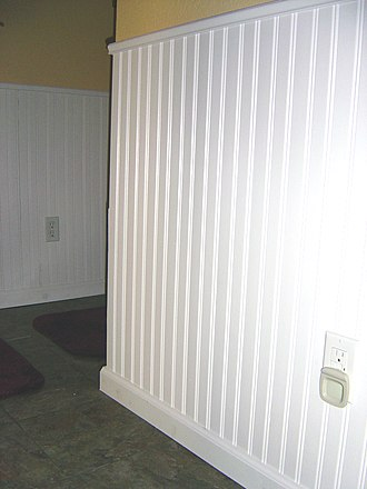 Panelling - 39-inch (1 m) wainscoting using 3-inch (76 mm) tongue and groove pine boards