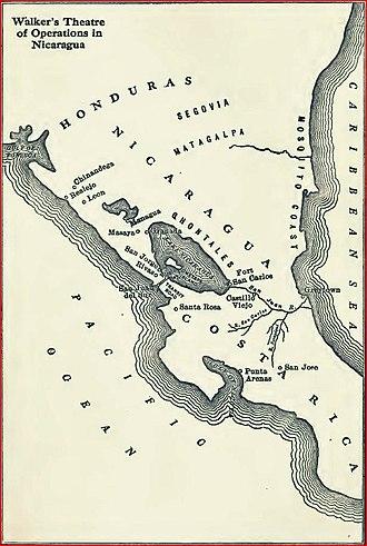 William Walker (filibuster) - Walker's Nicaragua map