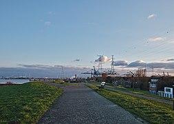 Walkway along the Scheldt leading to the Port of Antwerp (Doel, Belgium, DSCF3865).jpg