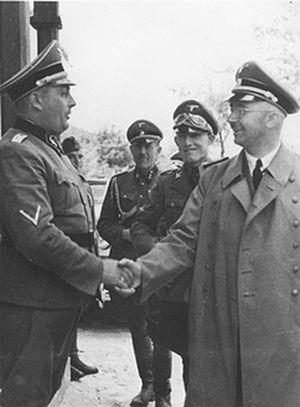Fritz Katzmann - Janowska concentration camp official visit. Right: Heinrich Himmler. Next to him: Fritz Katzmann. Left: camp commandant Friedrich Warzok
