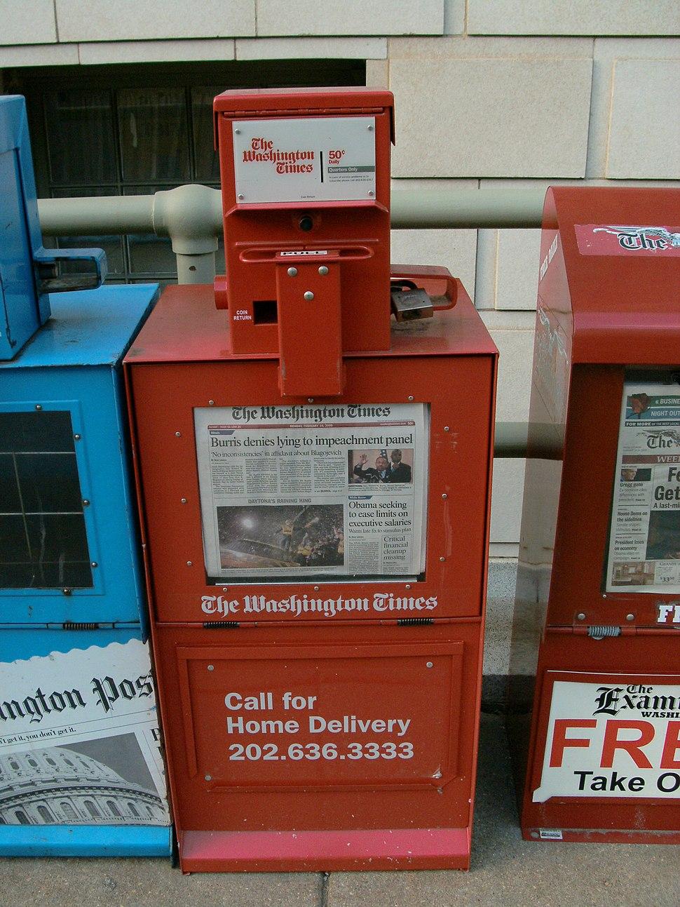 Washington Times dispenser