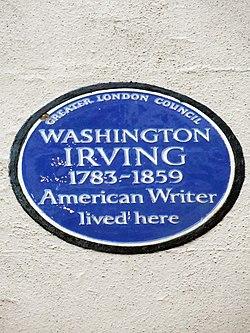Photo of Washington Irving blue plaque