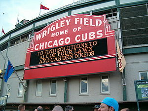 The welcome sign at Wrigley Field.