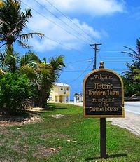Welcome sign at entrance to Bodden Town, Grand Cayman