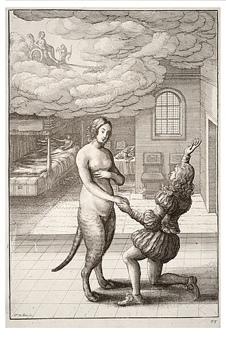 The Mouse Turned into a Maid - Wenceslas Hollar depicts the transformation from cat to woman, 1668