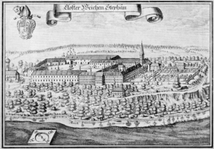 Weihenstephan Abbey - Engraving of Weihenstephan Abbey by Michael Wening in Topographia Bavariae, about 1700
