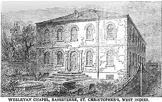 Basseterre - Wesleyan Chapel, Basseterre, St. Christopher's, West Indies (1850)