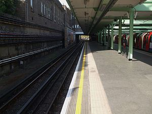 White City tube station - Image: White City stn eastbound look west