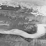 White Glacier, valley glacier terminus with banded ogives, striations in the rocks, September 17, 1972 (GLACIERS 5969).jpg