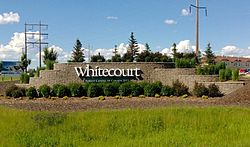Whitecourt's entrance sign on Highway 43
