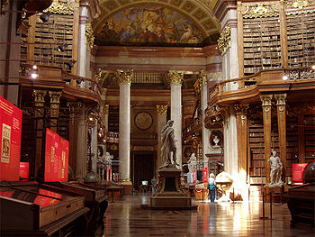 """The magnificent Prunksaal (""""hall of splendor""""), part of today's Austrian National Library, occupies the space of the former Imperial Library, of which Van Swieten was head. (Source: Wikimedia)"""