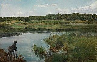 Am Wesslinger See, mit Dogge