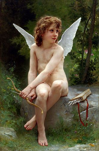 Kitsch - Love on the Look Out by William-Adolphe Bouguereau (1890). Despite his famous skill, his paintings were sometimes pejoratively called kitsch by modernists.