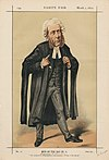 A caricature of William Ballantine stands in court dress, with particular focus given to his bewigged and abnormally large head.