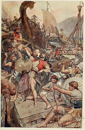Battle of Salamis - Death of the Persian admiral Ariabignes (a brother of Xerxes) early in the battle; illustration from Plutarch's Lives for Boys and Girls c. 1910