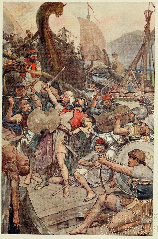 صحنه مرگ آریابیگنه در جنگ سالامیس