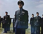 Wing Commander Guy Gibson VC during King George VI's visit to No. 617 Squadron (The Dambusters) at RAF Scampton, 27 May 1943. TR1002.jpg
