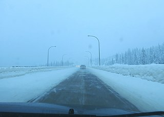 Heavy snowfall and freezing rain are common on the Coquihalla Highway in British Columbia.