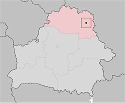 Location of Vitebsk, shown within the Vitebsk Voblast
