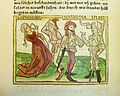 Woodcut illustration of Sophonisba committing suicide on the advice of her husband Masinissa, ordered to repudiate her by his ally Laelius - Penn Provenance Project.jpg