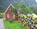 Wooden House and Stone Wall near Flåm - panoramio.jpg