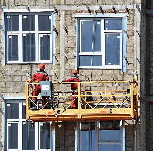 Workers on suspended scaffold in Korolyov