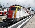 Wormser Hauptbahnhof- auf Bahnsteig zu Gleis 2- Richtung Ludwigshafen- DB Elektrolokomotive 110 325-8- Wissenschaftszug 14.6.2009.JPG