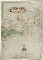 Karte von Blocks Seereise von 1614, die zum ersten Mal Long Island als Insel darstellt