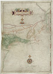 Map based on Adriaen Block's 1614 expedition to New Netherland, featuring the first use of the name.