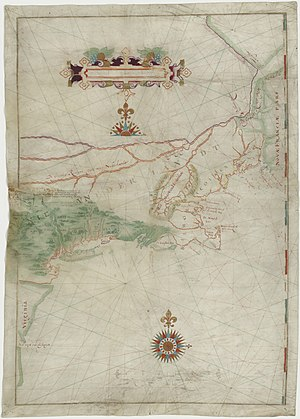 "Wampanoag - Block's map of his 1614 voyage, with the first appearance of the term ""New Netherland"""