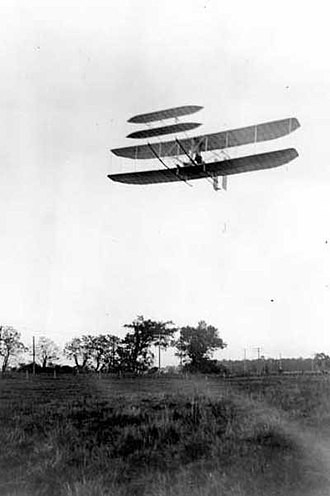 Fixed-wing aircraft - Wright Flyer III piloted by Orville Wright over Huffman Prairie, 4 October 1905