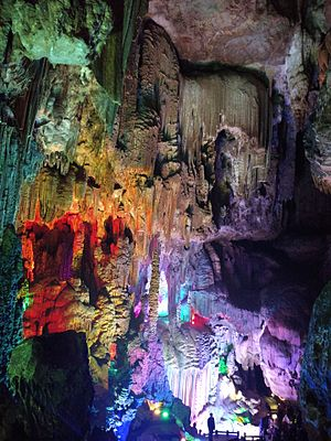 Silver Cave - View into the colorful illuminated cave