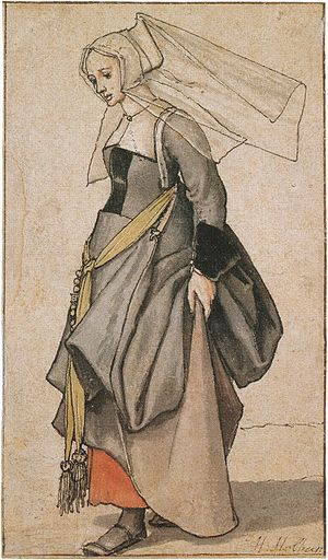 Dress hook - A Young Englishwoman, a costume study by Hans Holbein the Younger, showing dress hooks used to tuck up a gown.