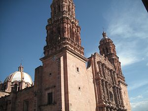Zacatecas cathedral, built between 1729 and 1753, regarded by many as the last, and greatest, expression of the churrigueresque (Mexican Baroque) style