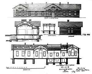 Krefeld-Uerdingen station - Drawing of the old station building in 1899