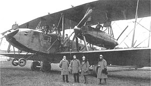 Zeppelin-Staaken R.XIV - R.XIVa with flight mechanic visible at his position between engines.