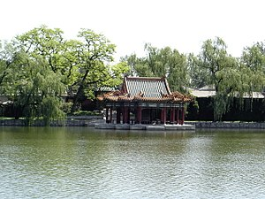 Zhongnanhai - The Pavilion of the Water and Cloud, on the eastern bank of the Central Sea.